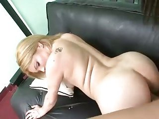 Brunette TS and blonde fuck