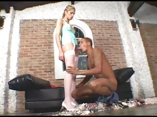 Guy drilled by tranny in stockings