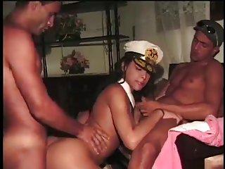 Uniformed tranny and 2 sexy fuckers