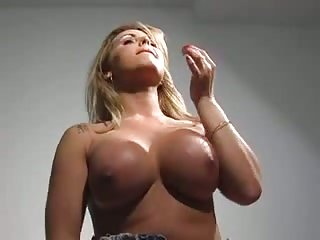 Very busty sexy tranny solo