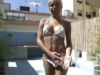 Guys have fun with blonde slut