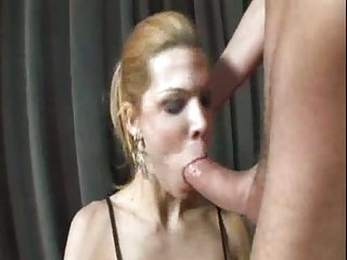Sexy TS sucks a cock and takes it deep