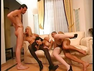 Gorgeous blonde TS in group fuck
