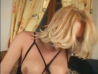 Amazing blonde tranny solo