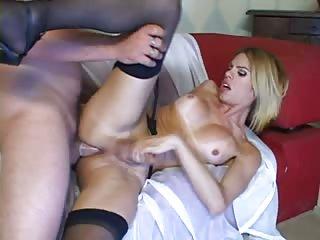 Big cumshot on shemales boobs