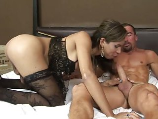 Stunning big cock TS prostitute with a man