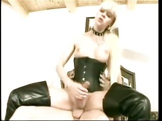 Hot sex with blonde tranny  in boots and corset