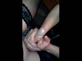 Crossdress handjob by Steffi