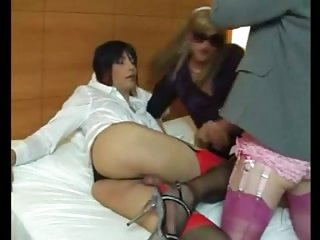 Three crossdressers sucking fun