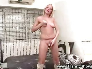 Hot tranny and her new lingerie