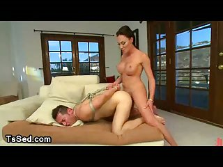 Trannies cum on faces of bound guys in big hall