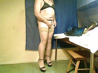 Amateur crossdresser striptease