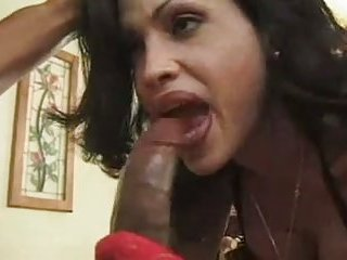 Mature brunette eats yummy black dick