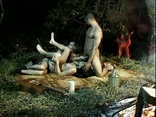 Outdoor orgy with 2 shemales