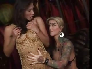 Stunning shemale and girl fucking scene