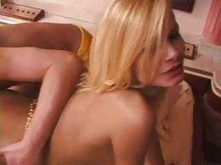 Slim blonde fisting her man
