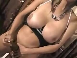 Titty black TS loves her big cock