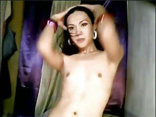 Sexy ladyboy solo on webcam