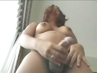 Sexy latina jerks off her fat prick