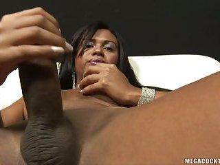 A spectacular stiff prick to stroke hides under her blue latex