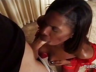 Hungry black tranny sucks white dick