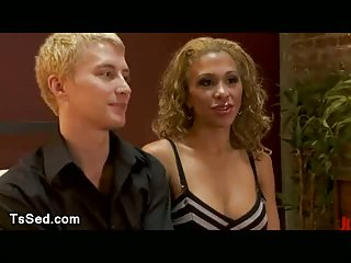Big tits tranny fucks blond guy and sits on his face