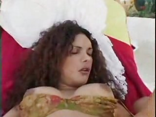 Nice curly tranny drills a chick outside