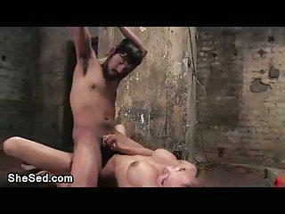 Bondaged dude rides tranny cock