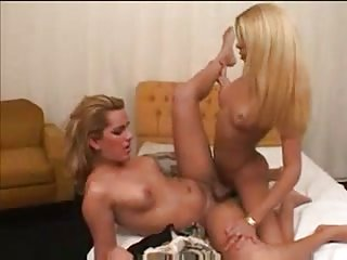 Two blonde TS have fun