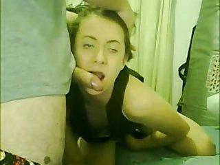 Teenie TS sucking cock
