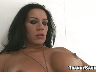 Sexy Brazilian tranny babe playing with her cock