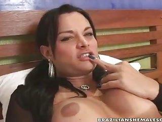 Kinky brunette Tgirl hot solo
