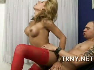 Hot blonde in red stockings fucked well