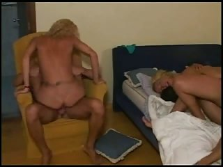 Hot blonde shemales in group fucking