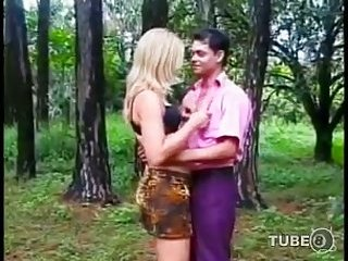 Blonde Tgirl drilled in the woods