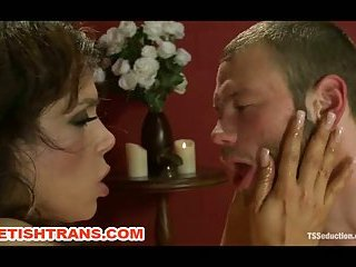 Big Dicked Tranny Anal and Mouth Dominates a Gay Slave