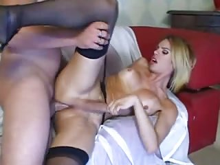 Hard anal sex for a blonde Ts bitch