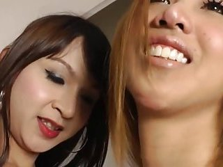Two sexy Asian shemales have sex together until they come