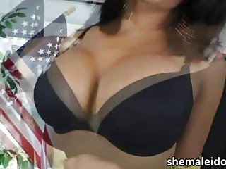 Damn sexy busty shemale Jane Marie gets doggy anal fucked