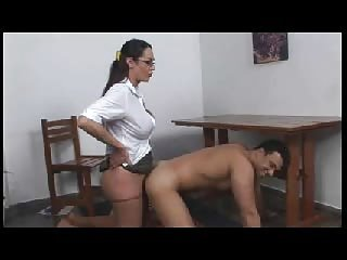 Shemale fucks guy on a table and on a floor