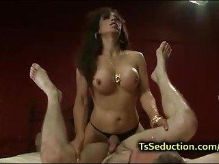 Sexy Latina tranny ties up and fucks guy
