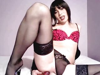 Brunette solo playing with dildo in sexy lingerie
