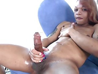 This black shemale girl has awesome big tool