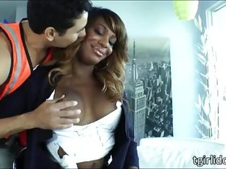 Ebony tranny Chastity Michaels rips ass
