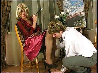Blonde crossdresser in stockings sucks & fucks
