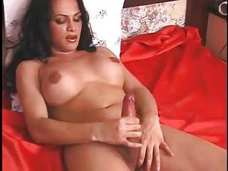 Latina cute TS cock wanking