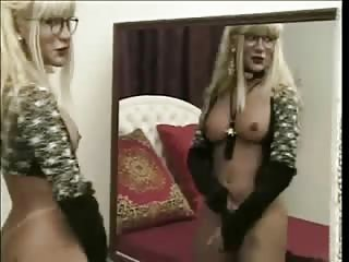 Blond girl in glasses will satisfy you