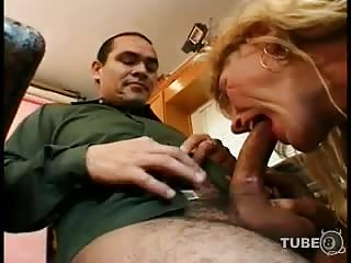 This mature tranny wants some sex on her kitchen
