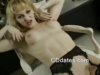 Hot blonde shemale jerks