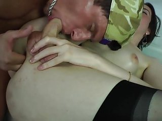Teen shemale is sucking on dick after getting ass fingered
